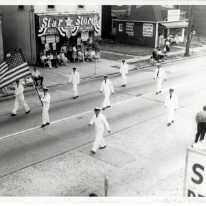Arbor Rescue marching in a parade, circa 1940's.